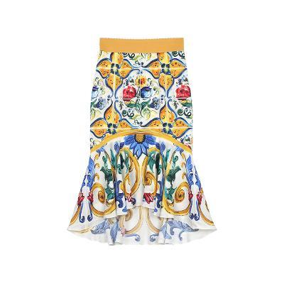 flower pattern mermaid skirt